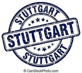 Stuttgart blue grunge round vintage rubber stamp