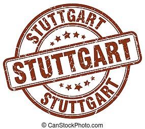 Stuttgart brown grunge round vintage rubber stamp