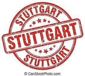 Stuttgart red grunge round vintage rubber stamp