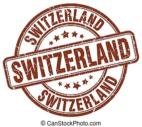 Switzerland brown grunge round vintage rubber stamp