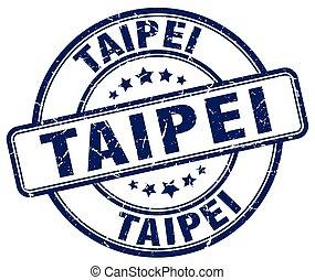 Taipei blue grunge round vintage rubber stamp