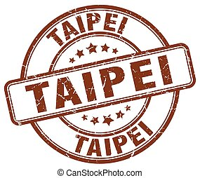 Taipei brown grunge round vintage rubber stamp