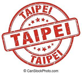 Taipei red grunge round vintage rubber stamp
