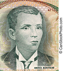 Andres Bonifacio (1863-1897) on 5 Piso 1969 Banknote from...