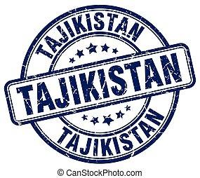 Tajikistan blue grunge round vintage rubber stamp
