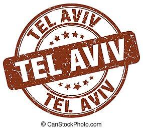 Tel Aviv brown grunge round vintage rubber stamp