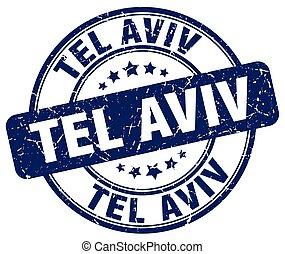 Tel Aviv blue grunge round vintage rubber stamp