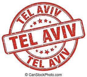 Tel Aviv red grunge round vintage rubber stamp
