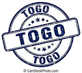 Togo blue grunge round vintage rubber stamp