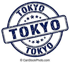 Tokyo blue grunge round vintage rubber stamp
