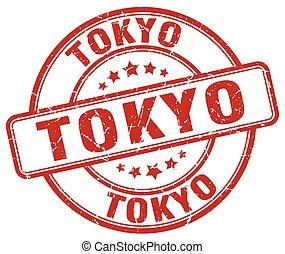 Tokyo red grunge round vintage rubber stamp