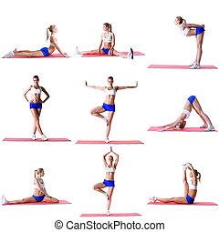 Pilates. Photo mix of blonde training on mat - Pilates....