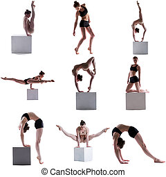 Gymnastics Set of flexible girl posing on cube - Gymnastics...