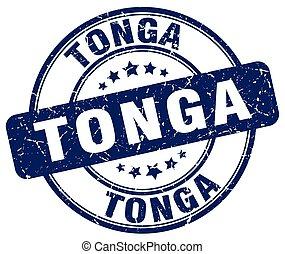 Tonga blue grunge round vintage rubber stamp