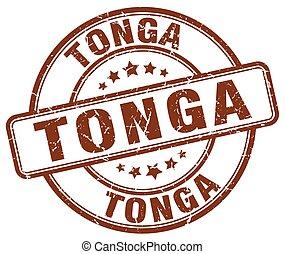 Tonga brown grunge round vintage rubber stamp