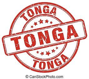 Tonga red grunge round vintage rubber stamp