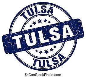 Tulsa blue grunge round vintage rubber stamp