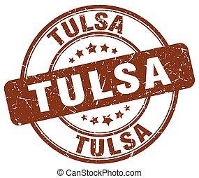 Tulsa brown grunge round vintage rubber stamp