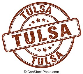 Tulsa brown grunge round vintage rubber stamp