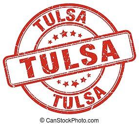 Tulsa red grunge round vintage rubber stamp