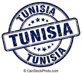 Tunisia blue grunge round vintage rubber stamp
