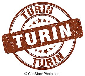 Turin brown grunge round vintage rubber stamp