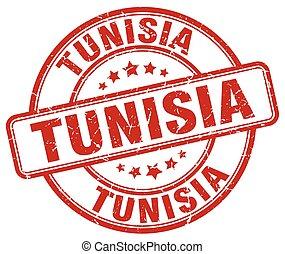 Tunisia red grunge round vintage rubber stamp