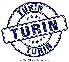 Turin blue grunge round vintage rubber stamp