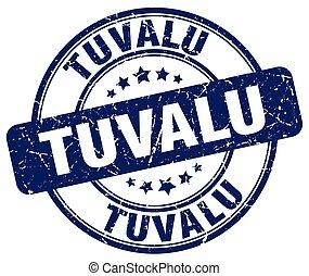 Tuvalu blue grunge round vintage rubber stamp