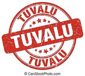 Tuvalu red grunge round vintage rubber stamp