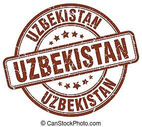 Uzbekistan brown grunge round vintage rubber stamp