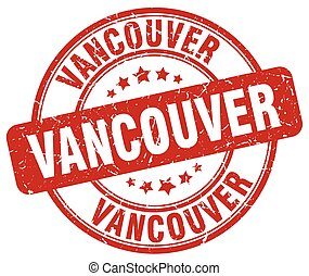 Vancouver red grunge round vintage rubber stamp