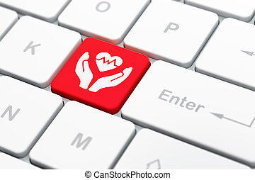 Insurance concept: Heart And Palm on computer keyboard...