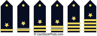 military ranks color vector illustration on white background