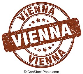 Vienna brown grunge round vintage rubber stamp
