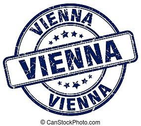 Vienna blue grunge round vintage rubber stamp