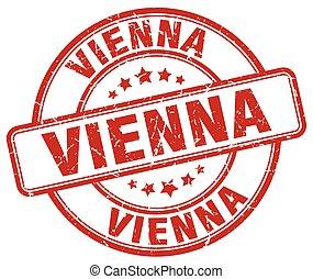 Vienna red grunge round vintage rubber stamp
