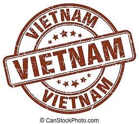 Vietnam brown grunge round vintage rubber stamp