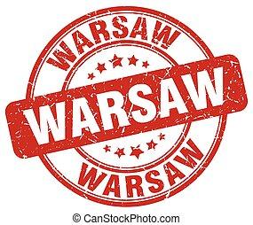 Warsaw red grunge round vintage rubber stamp