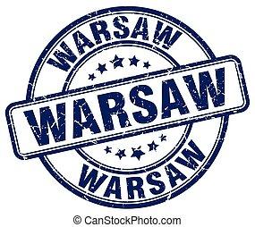 Warsaw blue grunge round vintage rubber stamp