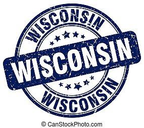 Wisconsin blue grunge round vintage rubber stamp