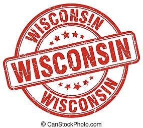 Wisconsin red grunge round vintage rubber stamp