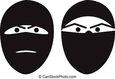 Terrorist portrait hidden face vector illustration isolated
