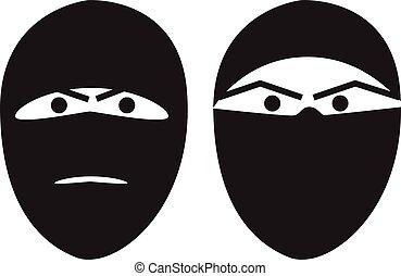 Terrorist portrait hidden face vector illustration isolated