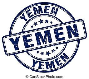 Yemen blue grunge round vintage rubber stamp