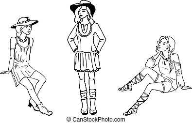 Vector illustration of three beautiful fashion girl