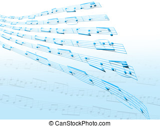 Distorted sheet music - Illustration showing distorted sheet...