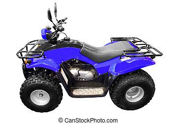 blue atv isolated - blue 4x4 quad-bike atv isolated