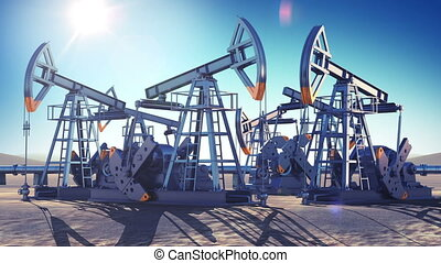 Oil Pumps Working in the Desert. Bright Sun Shining on Blue...