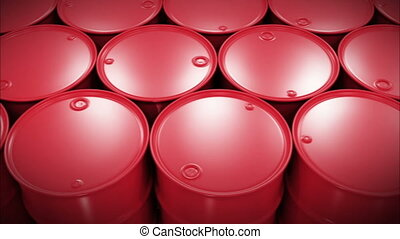 Oil Barrels Moving on the Screen Looped Business Concept 3d...